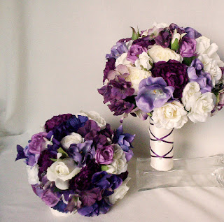 purple silk wedding bouquets