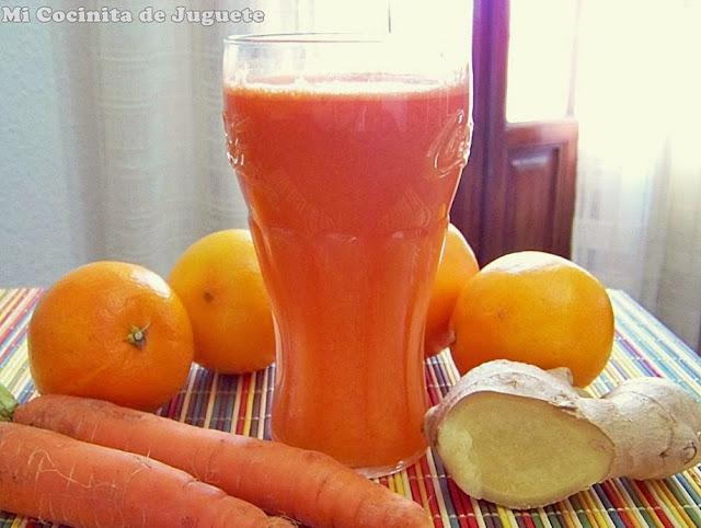 zumo de zanahoria, naranja y jengibre contra resfriados y gripe