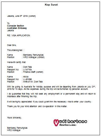 Contoh Surat Sponsor Visa Australia Yudi Hartono