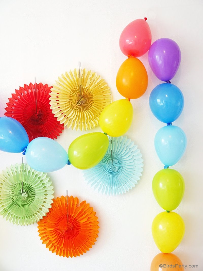 Rainbow Tablescape & DIY Balloon Garland - Party Ideas | Party ...
