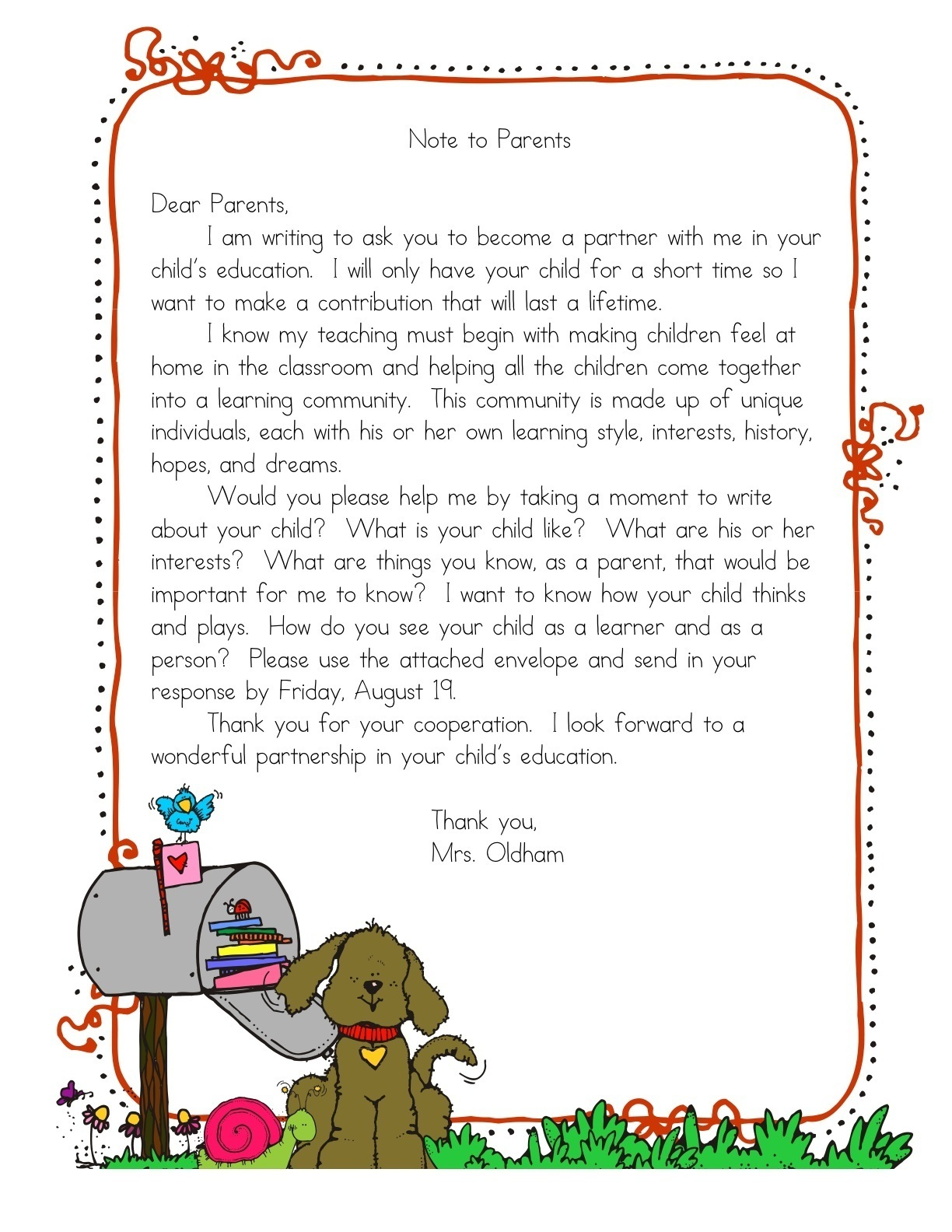 Parent notes a teeny tiny teacher for Letter to parents template from teachers