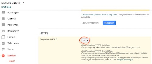 Kenapa Muncul Iklan Di Blog Secara Tiba Tiba - Setelan HTTPS