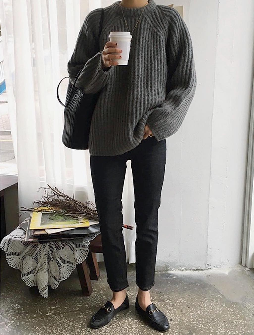 Casual Weekend Spring Outfit — Death by Elocution in a grey sweater, black tote bag, black ankle jeans, and Gucci loafers