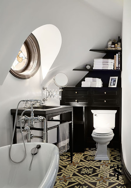 Bathroom with Classic Decor in French Tudor Renovation by Summer Thornton on Hello Lovely