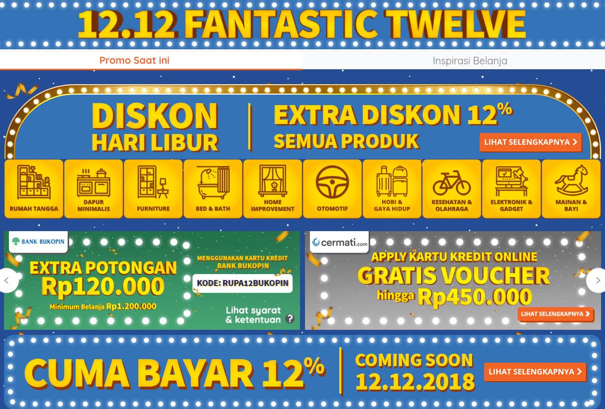 Ruparupa - Promo 12.12 Fantastic Twelve ( s.d 09 Des 2018)
