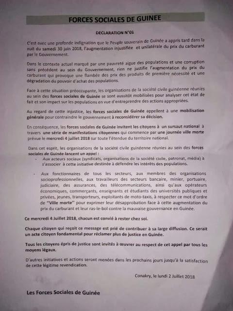 Guinée: Déclaration de la société civile Guinéenne dans les locaux de  PCUD
