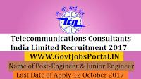 Telecommunications Consultants India Limited Recruitment 2017– 100 Engineer & Junior Engineer
