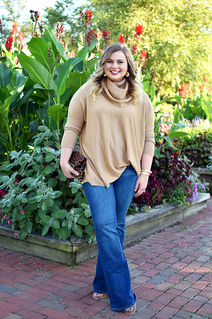 camel turtleneck sweater tunic flare jeans old navy nordstrom madly yours collection leopard calf hair clutch margaret elizabeth jewelry earrings 10 stone bangle hermes clic h bracelet dolce vita open toed booties target shoes