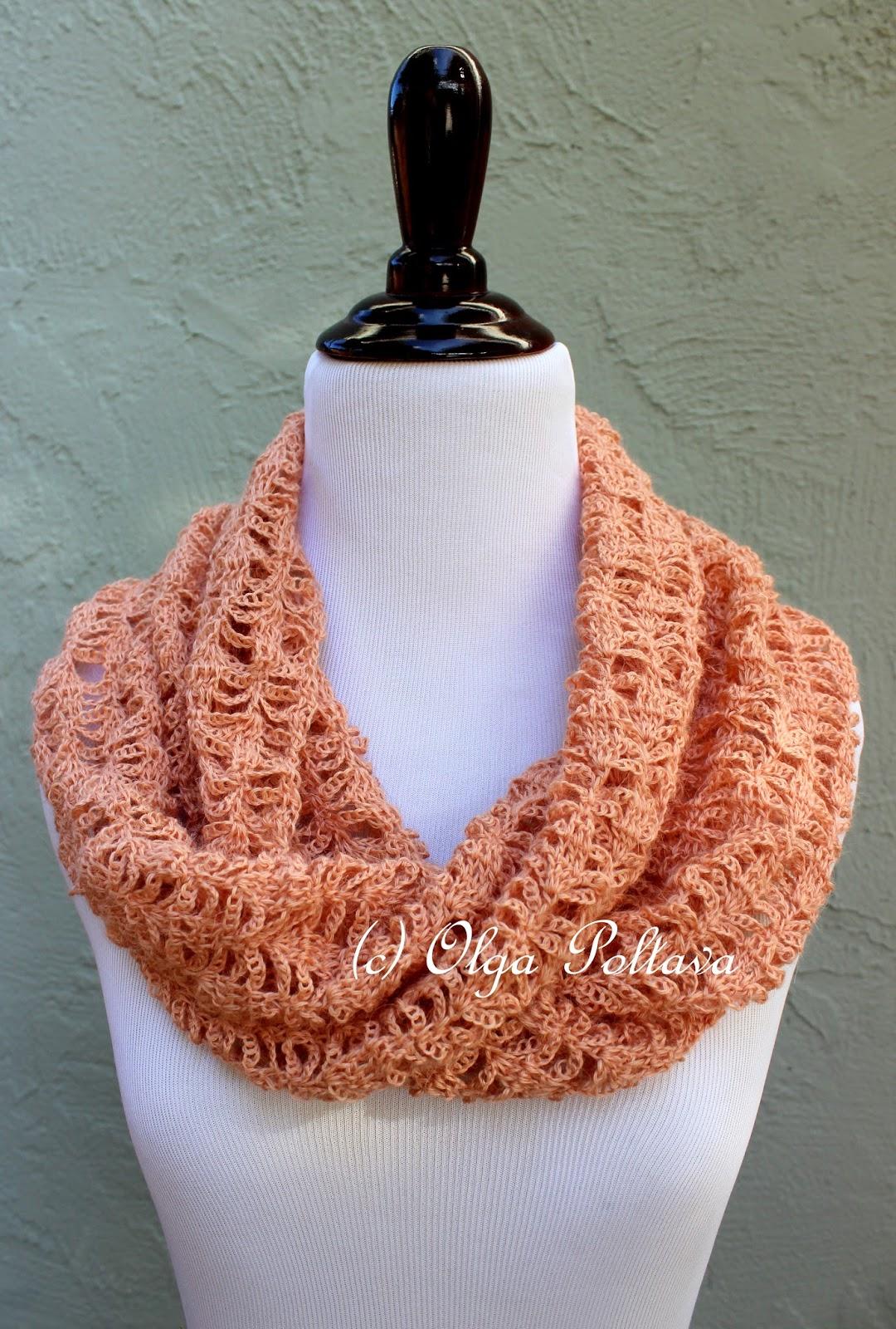 Lacy Crochet Peach Lace Infinity Crochet Scarf