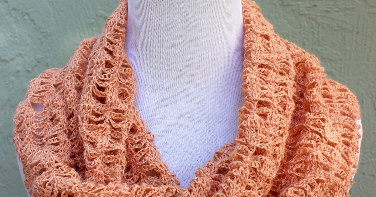 Crochet Pattern For Lacy Infinity Scarf : Lacy Crochet: Peach Lace Infinity Crochet Scarf