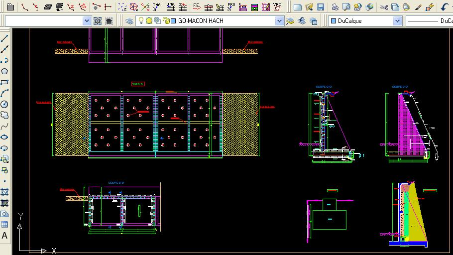Assez Exemple plan de ferraillage d'un mur de soutenement dwg | Outils  KU31