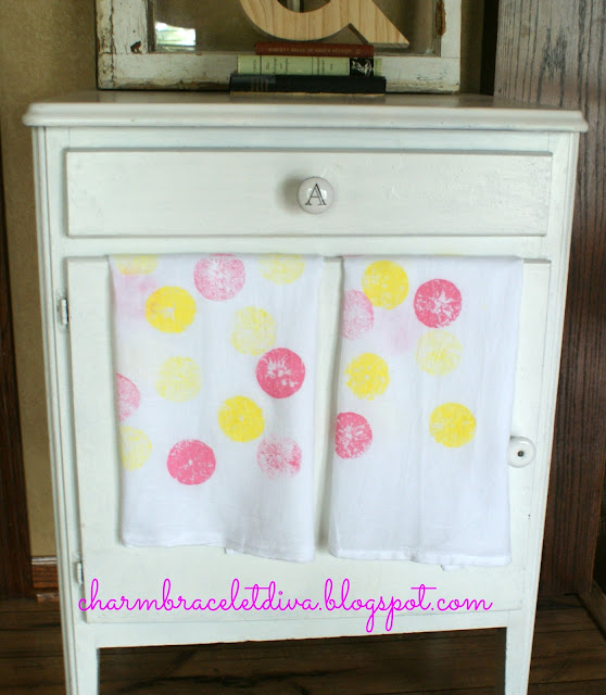 pink and yellow citrus stamped tea towels