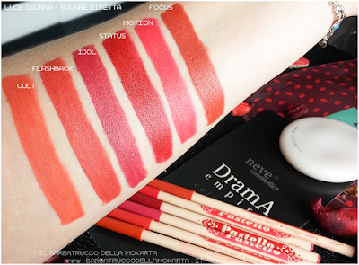 swatches Bio Pastello Labbra drama empire collection recensione neve cosmetics