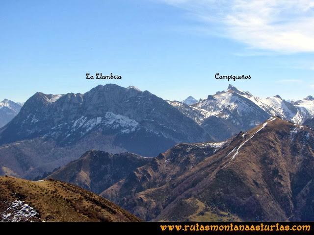 Ruta Pico Vízcares: Desde la cima del Vízcares, vista del Campiegueños y la Llambria