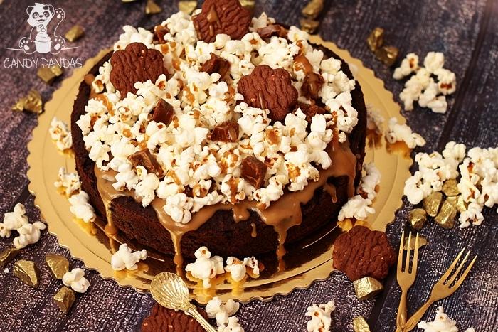 Wegańskie, proteinowe brownie z kokosowym karmelem i popcornem (bez glutenu, cukru białego, laktozy, wegańskie)