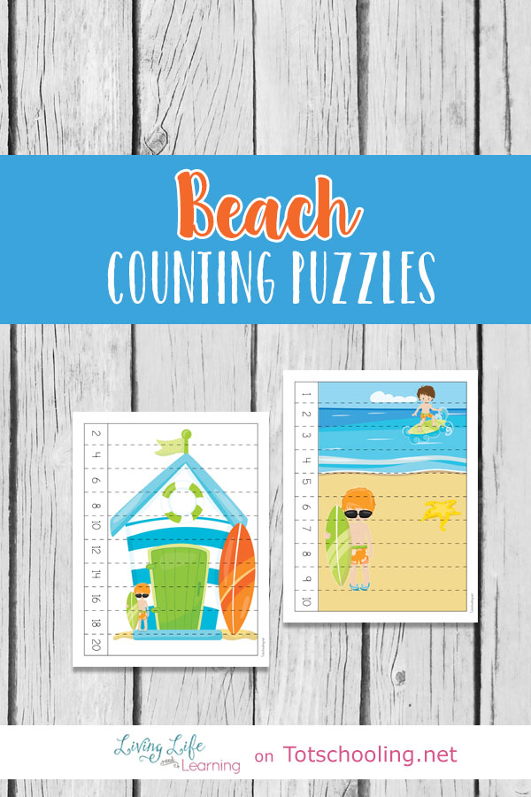 Beach Counting Puzzles | Totschooling - Toddler, Preschool ...