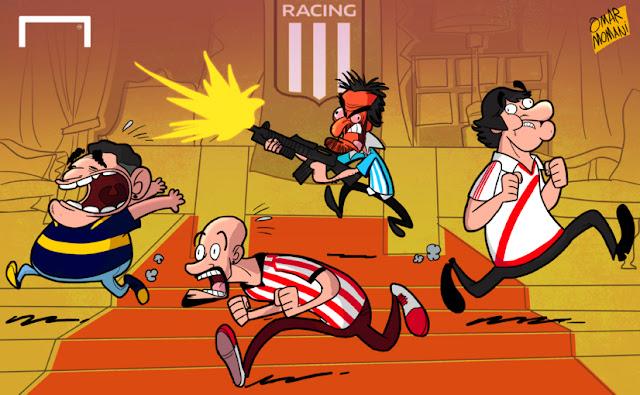 Al Pacino, Diego Maradona, Enzo Francescoli, Juan Sebastian Veron cartoon