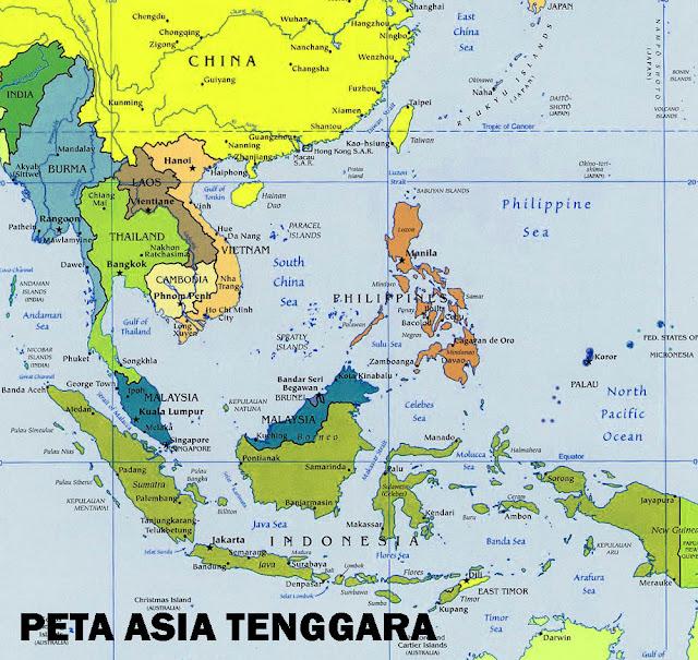 Gambar Peta Asia Tenggara versi Atlas