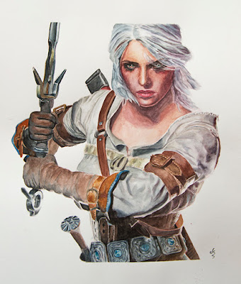 Acuarela de personaje videojuego The Witcher