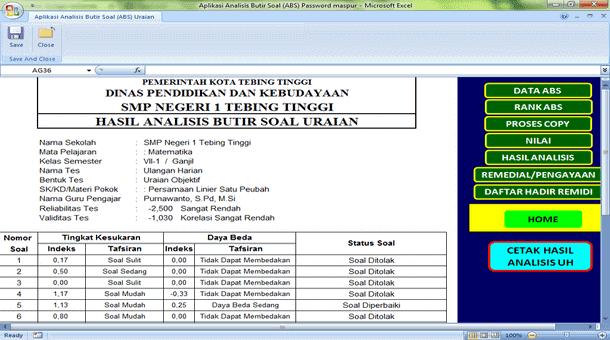 Download Aplikasi Analisis Butir Soal Format Microsoft Excel oleh Pak Purnawanto, S.Pd., M.Si.