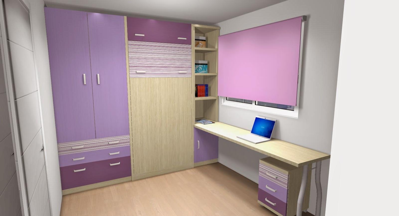 Este dormitorio con una cama abatible vertical para una for Habitaciones juveniles abatibles