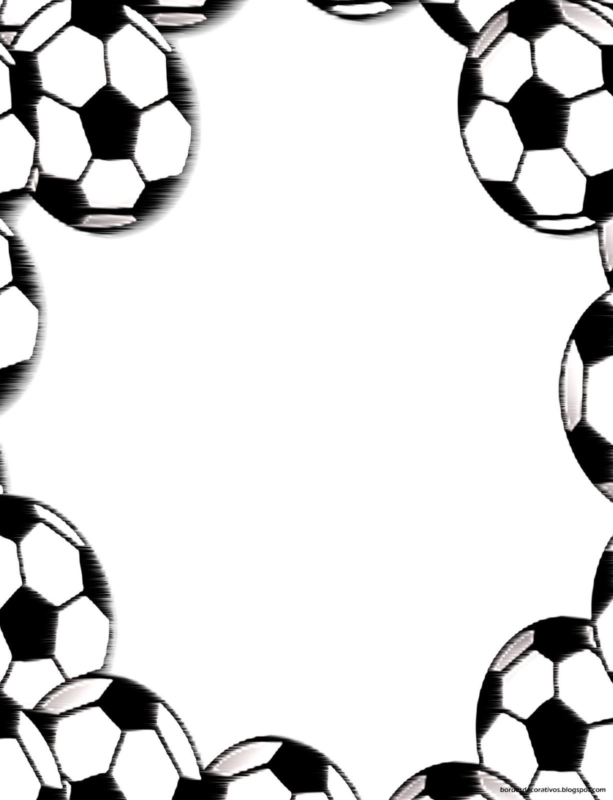 Bordes Decorativos: Bordes decorativos de hojas de Fútbol para imprimir