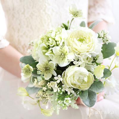 ラナンキュラスのブーケ(白)-ウェディングブーケと花髪飾りairaka