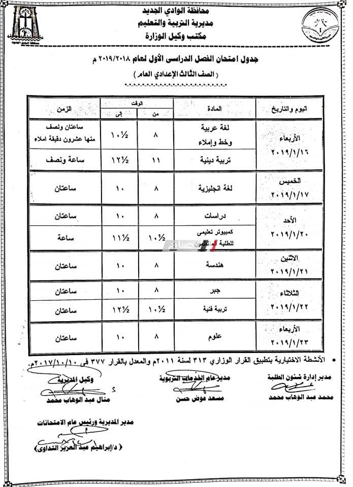 جداول امتحانات آخر العام الترم الثانى محافظة الوادي الجديد جميع الصفوف 2019