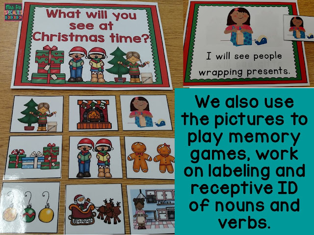 photo of the Christmas book and pictures that is included in the theme unit