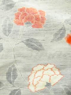 紬の紅白カーネーションの着物