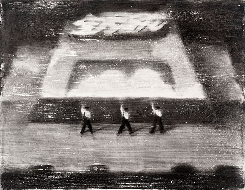 A Series Of Black And White Charcoal And Acrylic Works By Taiwanese Artist  Lai Wei Yu Depicting Moments Of Everyday Life Such As Children Practicing  Tai Chi ...