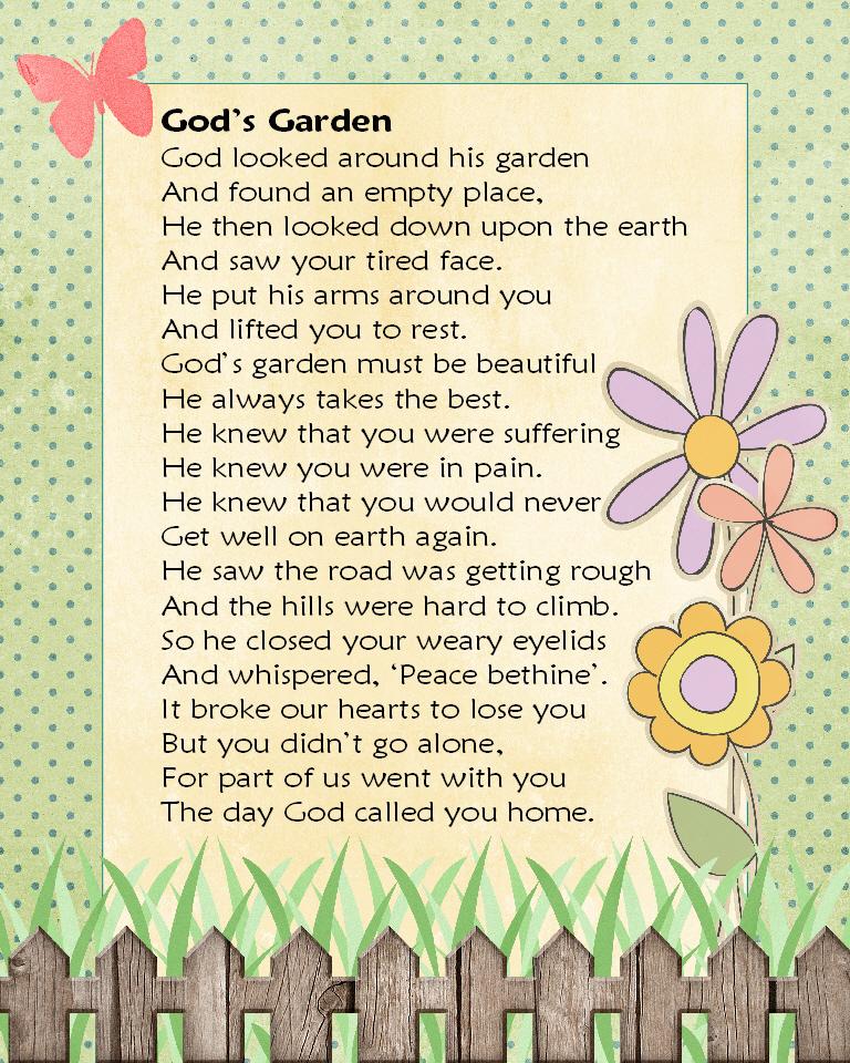 Gael's Crafty Treasures: Gods Garden: in memory of lost ...