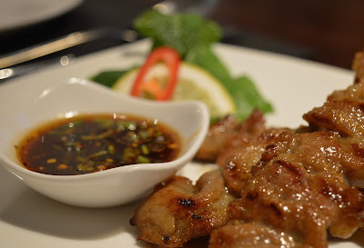 Starter option - grilled pork skewers from Mantra Thai, Newcastle Quayside