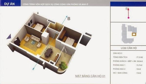 thiết kế mẫu căn số 1 chung cư 34 Cầu Diễn