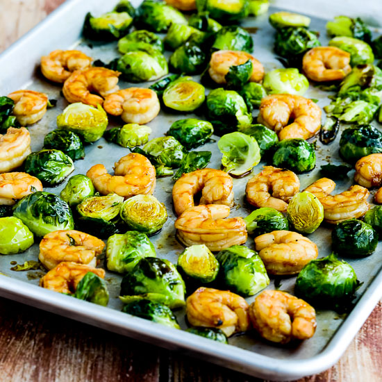 Roasted Asian Shrimp and Brussels Sprouts Sheet Pan Meal found on KalynsKitchen.com.