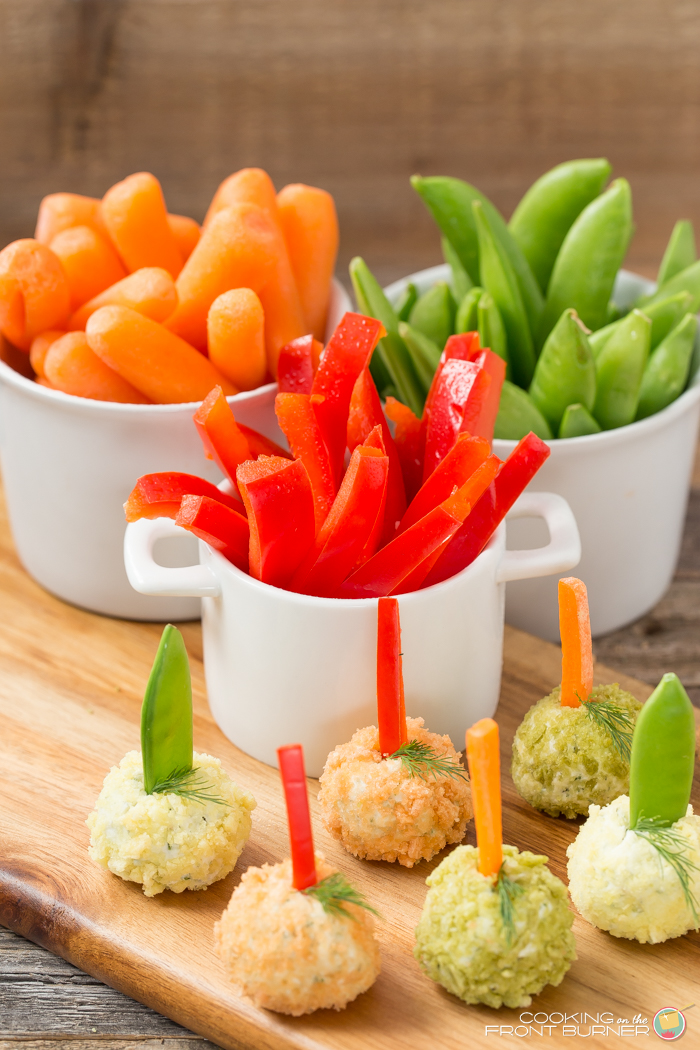These Veggie Dip Poppers are made out of creamy dill cream cheese with, rolled in crushed veggie chips that you can pop into your mouth.  Let's party!