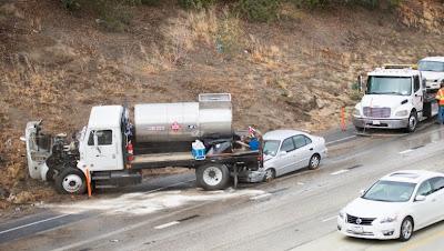 bakersfield highway 58 99 big rig tanker multiple car crash kern county