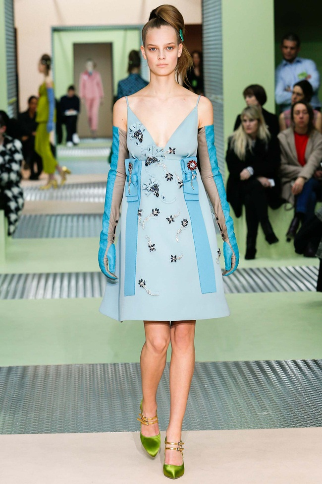 Prada 2015 AW Little Blue Embellished Jersey Gazarre Empire-Waist Dress on Runway