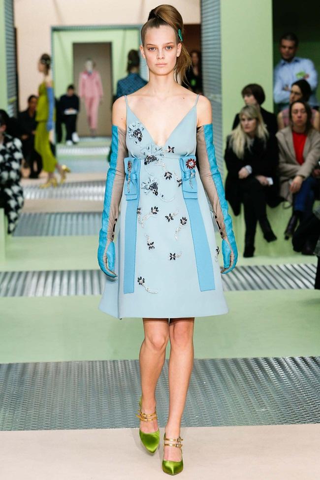 Prada 2015 AW Little Blue Embellished Jersey Gazarre Empire-Waist Dress on Runway