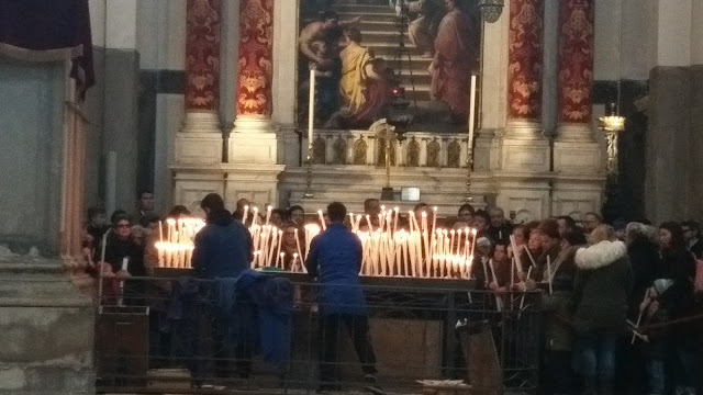 Candles lit inside La Salute