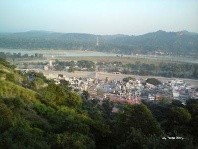 View of the Haridwar city from the Cable car chair to the Mansa Devi and the Chandi Devi Temples in Haridwar