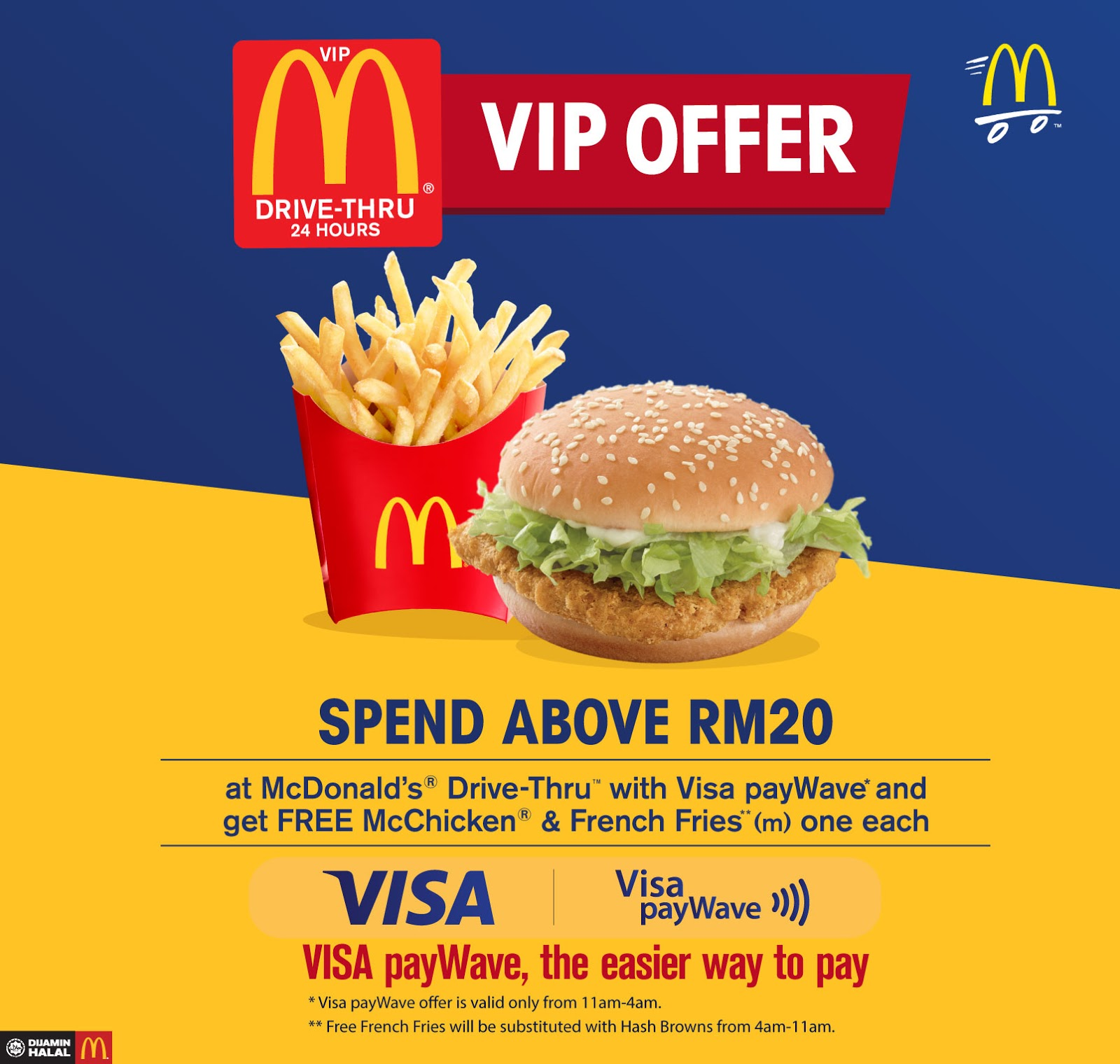 Mcd Drive Thru Vip Member Free Mcchicken French Fries Minimum