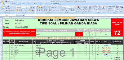 Aplikasi Koreksi Soal Pilihan Ganda Dengan Excel