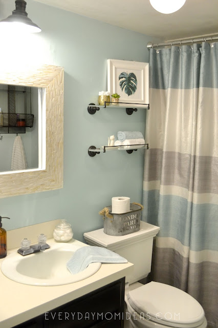 Basement Bathroom Makeover On A Budget Mint Black Pearl