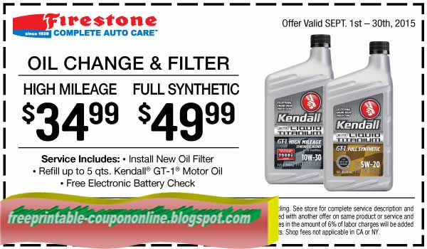 Oil change coupon firestone 2018