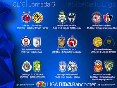 Calendario Jornada 6 Liga MX