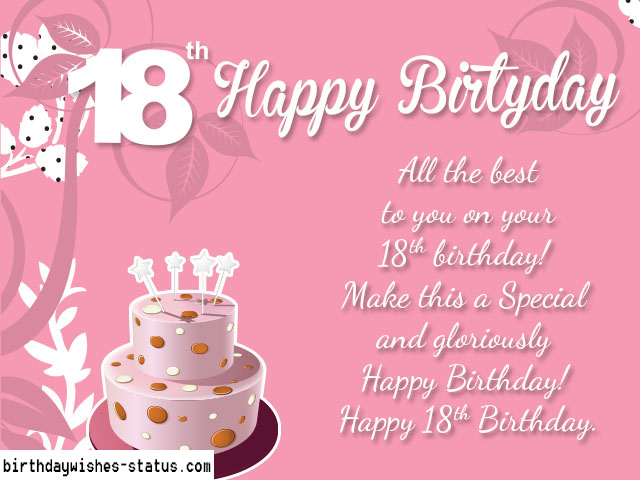 18th Birthday Cards For Girls ~ Happy th birthday wishes status