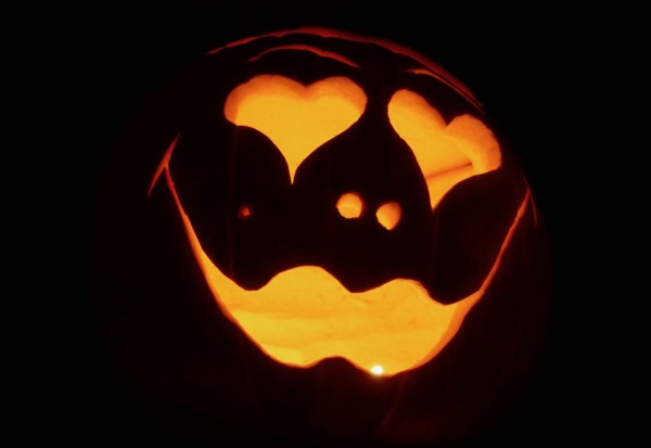Carved hearts Halloween pumpkin