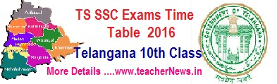 Telangana  SSC (10th Class) Public Exams Time Table 2019  TS/ Telangana SSC 2018 Revised Time Table, Telangana SSC March 2019