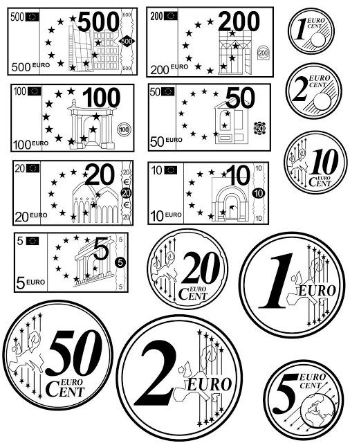 MIS COSAS DE MAESTRA* Euros monedas y billetes
